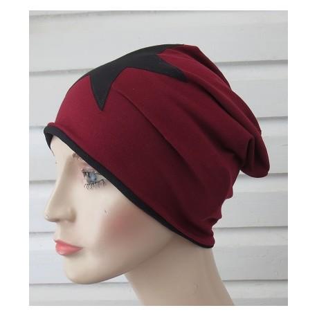 Beanie Mütze Damen Bordeaux Schwarz mit Stern aus Jersey genäht. Auch mit Fleece. Farbe, KU 54-62 nach Wunsch.