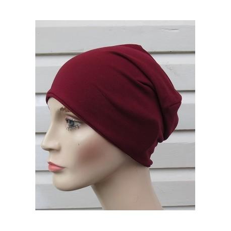Long Beanie Damen Mütze Jersey Bordeaux zum Wenden genäht. Auch mit Fleece. Farbe, KU 54-62 gerne nach Wunsch.