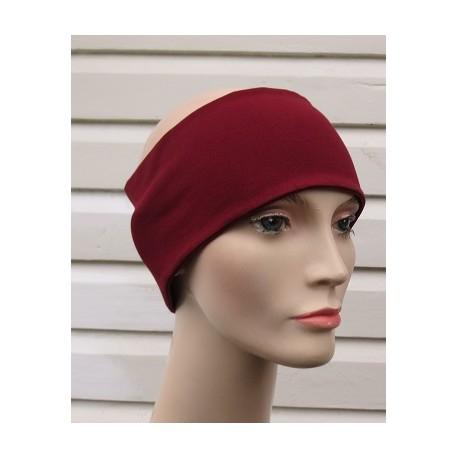 Stirnband Sport Frauen Jersey Bordeaux zum Wenden genäht. Partnerlook im Shop. Farbe, KU 54-62 nach Wunsch.