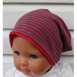 Beanie Mütze Kinder Mädchen Rot Grau meliert aus Jersey genäht. Cool als Long Slouch. KU 39-55 nach Wunsch.