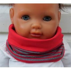 Schal Kinder Mädchen Loop aus Jersey Rot Grau Ringel Streifen genäht. Auch mit Fleece. KU 39-55 nach Wunsch.