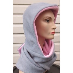 Kapuzenschal Grau Rosa Damen aus Fleece zum Wenden genäht. Gerne auch einfarbig. Farbe, KU 54-62 nach Wunsch.