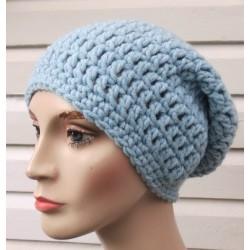 Winter Beanie Damen Mütze Long Slouch Haube Blau aus Wolle gehäkelt. Handarbeit. Farbe, KU 54-62 nach Wunsch.