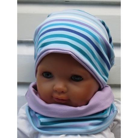 Winterset Kinder Baby Mädchen Blau Streifen Bunt aus Jersey genäht. Ein Stirnband, Tuch im Shop. KU 39-55 nach Wunsch.