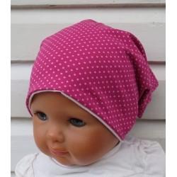Baby Sommermütze Kinder Mädchen Pink Rosa Punkte aus Jersey genäht. Zum Wenden. KU 39-55 nach Wunsch.