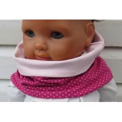 Schal für Kinder Mädchen Jersey Pink Rosa Punkte zum Wenden genäht. Long Beanie im Shop. KU 39-55 nach Wunsch.