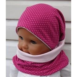 Mütze und Schal Set Kinder für Mädchen mit Punkten Pink Rosa aus Jersey genäht. Auch mit Fleece. KU 39-55 nach Wunsch.