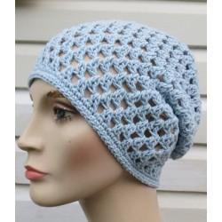 Sommer Beanie Damen Mütze Blau luftig gehäkelt aus Baumwolle-Mix. Handarbeit. Farbe, KU 54-62 nach Wunsch.