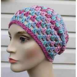 Sommermütze Damen gehäkelt Bunt Beanie mit Farbverlauf aus Baumwolle. Handarbeit. Farbe, KU 54-62 nach Wunsch.