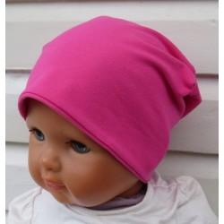 Beanie Kinder Mädchen Mütze Jersey Pink zum Wenden genäht. Fürs ganze Jahr als Long. Farbe, KU 39-55 nach Wunsch.