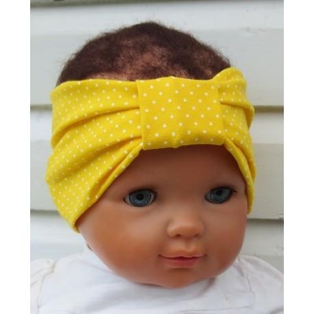Baby Haarband Mädchen Kinder Sommer Gelb Punkte Weiß aus Jersey genäht. Handmade. Farbe, KU 36-55 nach Wunsch.
