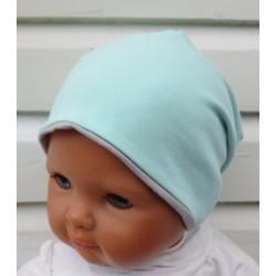 Beanie Mütze Junge Slouch cool Mint Grau zum Wenden genäht. Auch mit Fleece. Farben, KU 39-55 nach Wunsch.