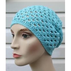 Häkel Beanie Damen Sommer Mütze Baumwolle Blau von Hand gehäkelt. Als Long. Handarbeit. Farbe, KU 54-62 nach Wunsch.