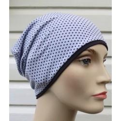 Beanie Mütze Damen Chemo Kopfbedeckung Jersey Flieder Punkte Lila genäht. Zum Wenden. Farbe, KU 54-62 nach Wunsch.