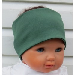 Haarband Kinder Sport Jungs Jersey Khaki genäht. Cool zum Wenden. Long Beanie im Shop. Farbe, KU 36-55 nach Wunsch.