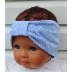 Haarband Sport Mädchen Kinder Jersey Sommer Blau Weiß Punkte genäht. Long Beanie im Shop. Handmade. KU 36-55 nach Wunsch.
