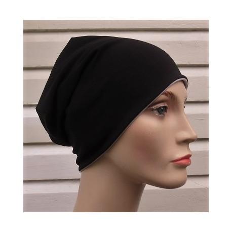 Long Beanie Mütze Damen Jersey Schwarz Grau zum Wenden genäht. Auch mit Fleece. Farbe, KU 54-62 nach Wunsch.