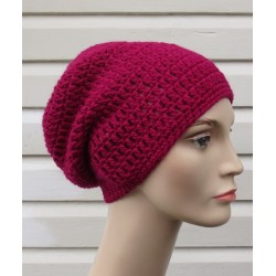 Woll Beanie Damen Mütze Pink als Long Slouch gehäkelt. Liebevolle Handarbeit. Schal im Shop. Farbe, KU 54-62 nach Wunsch.