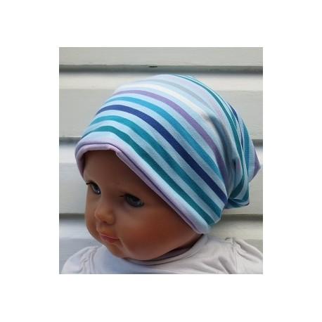 Sommer Beanie Kinder Jersey Mädchen Long Bunt Streifen genäht. Auch mit Fleece. Farbe (Innen), KU 39-55 nach Wunsch.