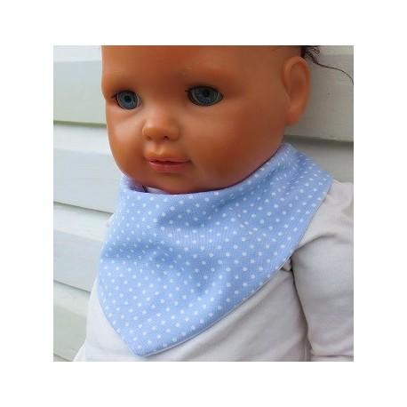 Halstuch Kinder Mädchen Jersey Blau mit Punkten Weiß genäht. Beanie im Shop. Ca. 0-8 Jahre nach Wunsch.