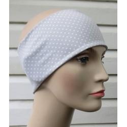 Haarband Damen Sommer Jersey Grau Punkte Weiß zum Wenden genäht. Kids Partnerlook im Shop. KU 54-62 nach Wunsch.
