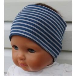 Haarband Sport Kinder Jungen Jersey Grau Streifen Blau genäht. Eine Long-Beanie, Wendetuch im Shop. KU 36-55 nach Wunsch.