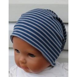 Long Beanie Mütze Jungen cool Jersey Blau Grau gestreift genäht. Kopfband, Wendeschal im Shop. KU 39-55 nach Wunsch.