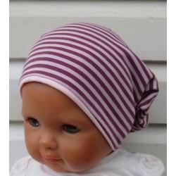 Beanie Mädchen Mütze Jersey Rosa Streifen Sommer Winter genäht. Als Long. Variante, KU 39-55 nach Wunsch.