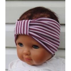 Haarband Mädchen Kinder Jersey Sommer Streifen Rosa aus Jersey genäht. Auch ohne Mittelteil. KU 36-55 nach Wunsch.