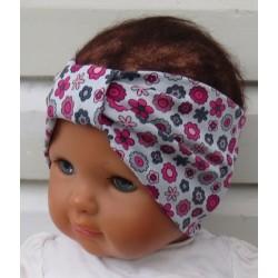 Haarband Baby Blumen Mädchen Grau Bunt Sommer aus Jersey genäht. Long Beanie im Shop. KU 36-55 nach Wunsch.
