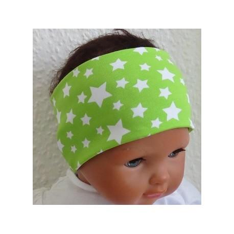 Stirnband Kleinkind Grün mit Sternen für den Sommer genäht. Partnerlook im Shop. KU 36-55 nach Wunsch.