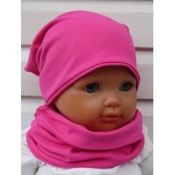 Mütze Schal Set Mädchen Frühling Pink Jersey mit Long Beanie genäht. Auch mit Fleece. Farbe, KU 39-55 nach Wunsch.