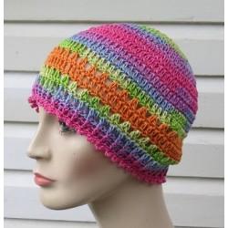 Häkelmütze Damen Sommer Bunt leicht aus Baumwolle. Romantisch für Frauen. Handarbeit. Farbe, KU 54-62 nach Wunsch.