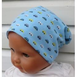 Baby Mütze Jungen Blau mit Autos zum Wenden genäht. Cool als Long Beanie. Farbe, Variante, KU 39-55 cm nach Wunsch.