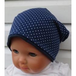 Beanie Mütze Mädchen Maritim Blau Weiß mit kleinen Punkten genäht. Auch mit Fleece. Variante, KU 39-55 nach Wunsch.