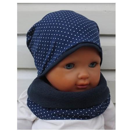 Mütze Schal Set Baby Maritim mit Pünktchen aus Jersey genäht. Fürs ganze Jahr auc mit Fleece. KU 39-55 nach Wunsch.