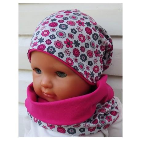 Mütze und Schal Set Kinder Mädchen Blumen Grau Pink Rosa aus Jersey genäht. Mit Long Beanie. KU 39-55 nach Wunsch.