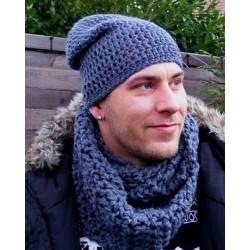 Herren Schal Winter Dunkelgrau gehäkelt als Loop. Beanie im Shop. Handarbeit. 25 x 140 cm. Angebot beinhaltet einen Loop.