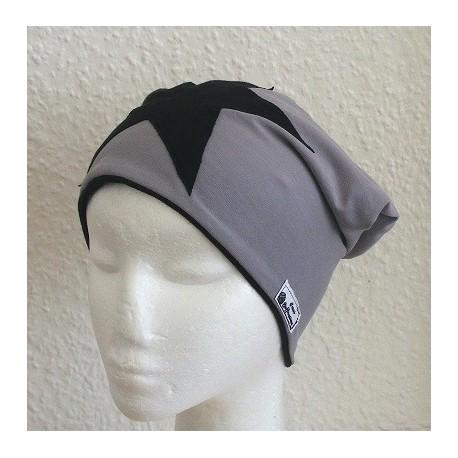 Beanie Mütze Damen Stern Schwarz Grau aus Jersey genäht. Als Long. Auch mit Fleece. Farbe, KU 54-62 nach Wunsch.