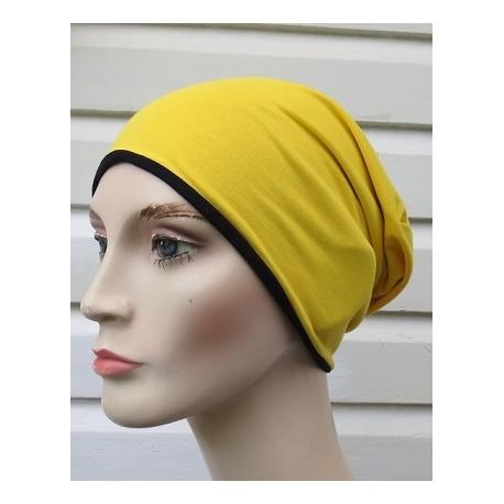 Beanie Mütze Damen Gelb Schwarz Jersey fürs ganze Jahr genäht. Als Slouch Long. Farben, KU 54-62 nach Wunsch.
