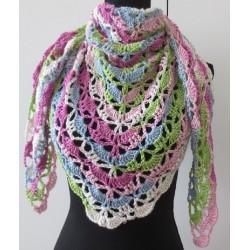 Dreieckstuch mit Farbverlauf Rosa Blau Weiß aus Wolle gehäkelt. Liebevolle Handarbeit. 5 Farben nach Wunsch erhältlich.
