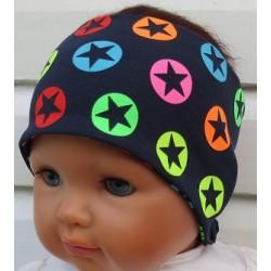 Haarband Kinder Jungs Jersey Blau Sterne Bunt genäht. Coole Farben. Long Beanie, Schal im Shop. KU 36-55 nach Wunsch.