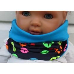 Halssocke Kinder Loop Jungen Blau Sterne Bunt Neon aus Jersey genäht. Auch mit Fleece. KU 39-55 nach Wunsch.