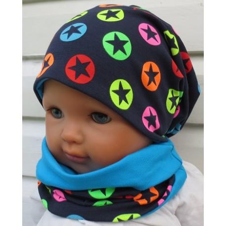 Mütze und Schal Kinder Junge Set Jersey Long Beanie Blau Sterne Neon Bunt genäht. KU 39-55 nach Wunsch. Handmade.