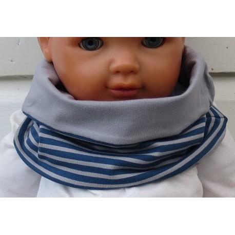 Loop Schal Kinder Jungen Jersey Blau Grau gestreift zum Wenden genäht. Coole Farben für Jungs. KU 39-55 nach Wunsch.