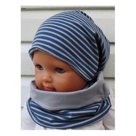 Mütze und Loop Set Jungen Blau Grau Jersey Long Beanie gestreift genäht. Tolle Farben. KU 39-55 nach Wunsch.