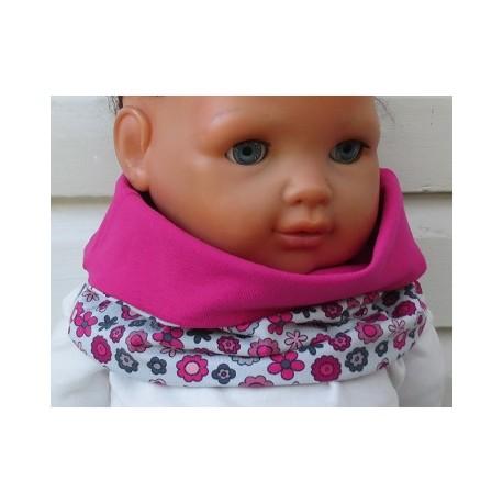 Loop Schal Kinder Mädchen Jersey Halssocke Grau Pink mit Blumen genäht. Zum Wenden. KU 39-55 nach Wunsch.