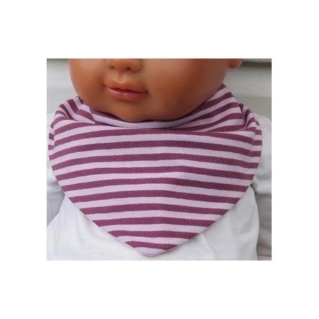 Halstuch Mädchen Dreieckstuch Jersey Rosa gestreift genäht. Mit Druckknopf oder Klettverschluß. Ca. 0-8 J. nach Wunsch.