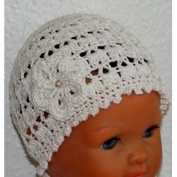 Baby Mütze Creme Sommer zauberhaft aus Baumwolle gehäkelt. Liebevolle Handarbeit. Farbe, KU 42-55 nach Wunsch.