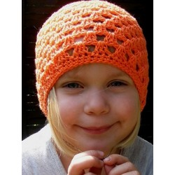 Sommermütze Kinder Orange als Long Beanie aus Baumwolle gehäkelt. Handmade. Farbe, KU 42-55 nach Wunsch.